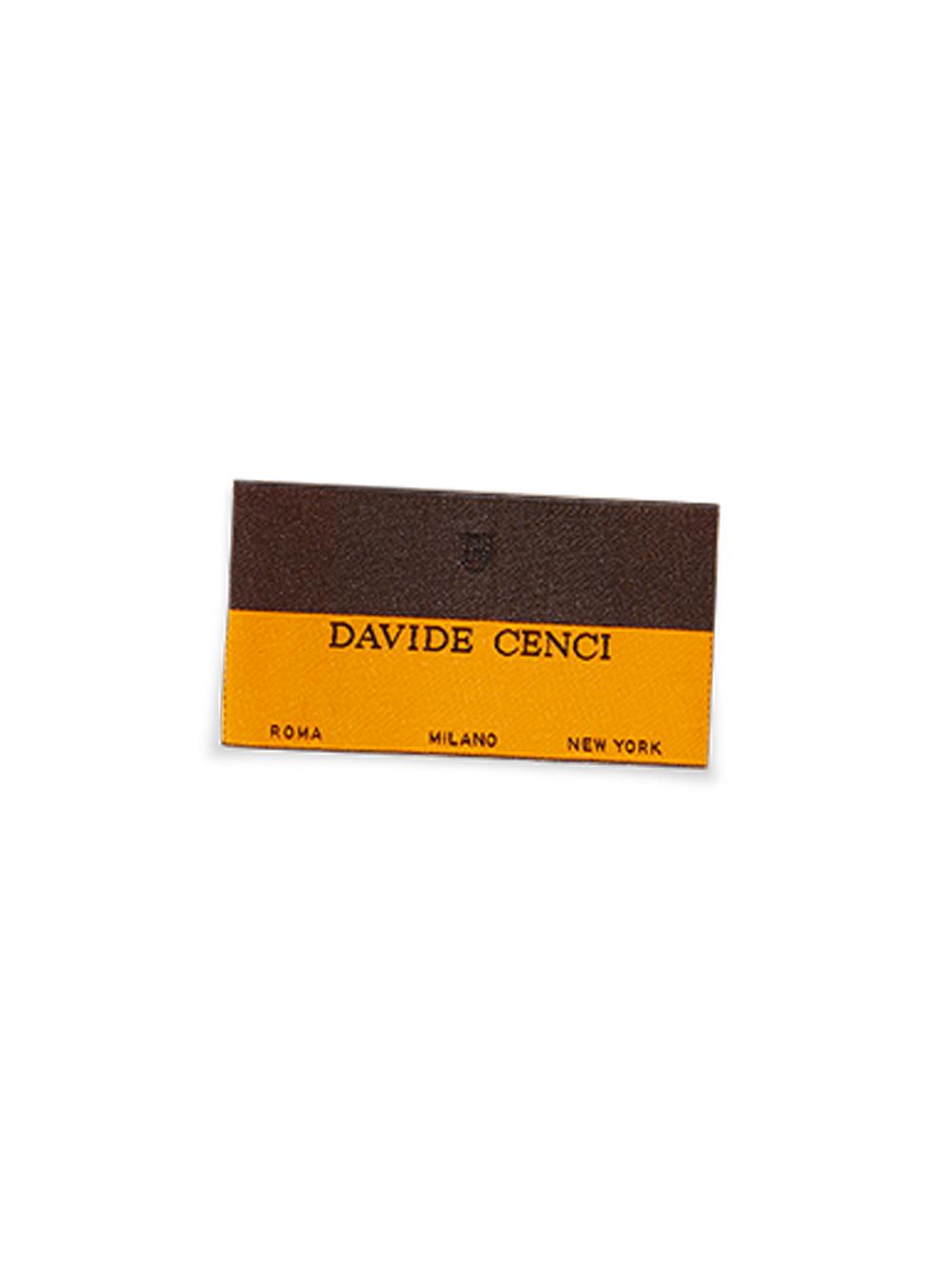 Blue silk jacquard tie Davide Cenci with orange micro polka dots